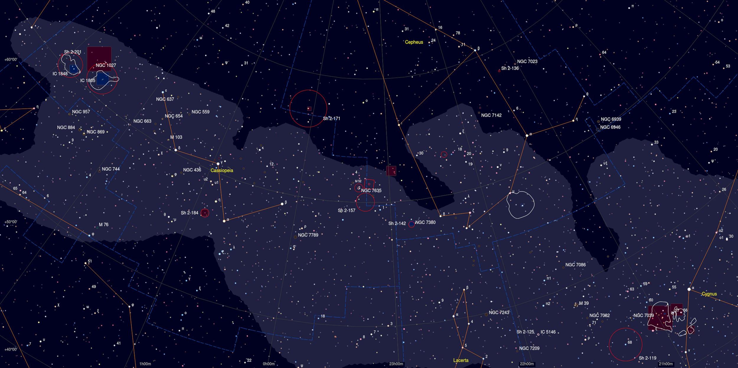 Northern Logoon Nebula (NGC 7538) Sky Chart Astrophotography Martin Rusterholz
