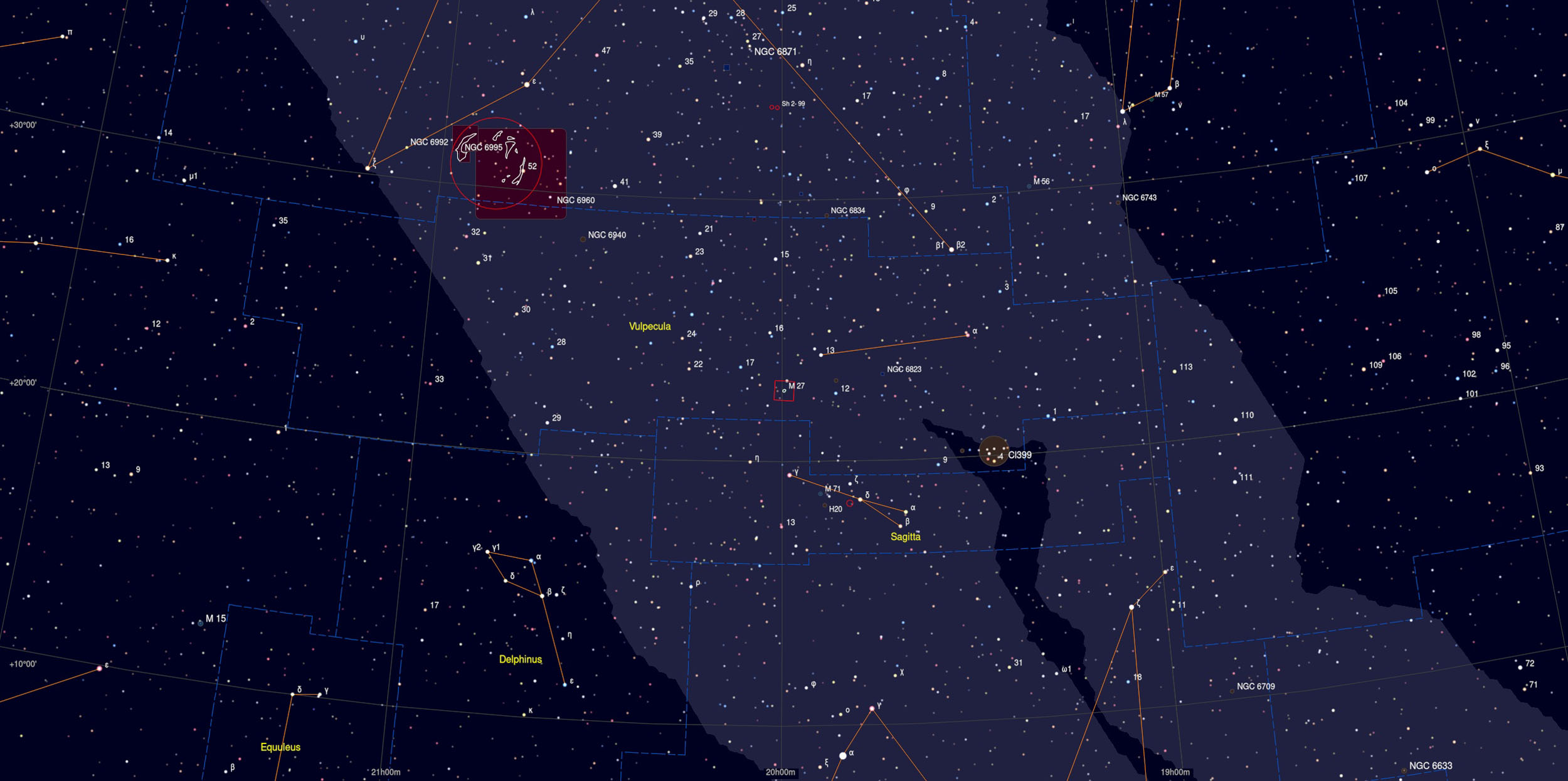 Dumbbell Nebula (M27) Sky ChartAstrophotography Martin Rusterholz