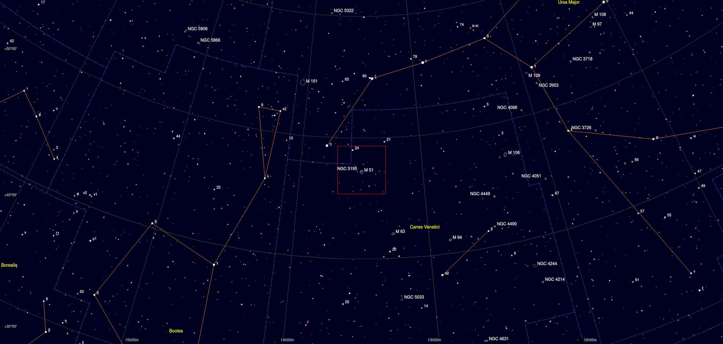 M51 Galaxy Astrophotography Martin Rusterholz Skychart