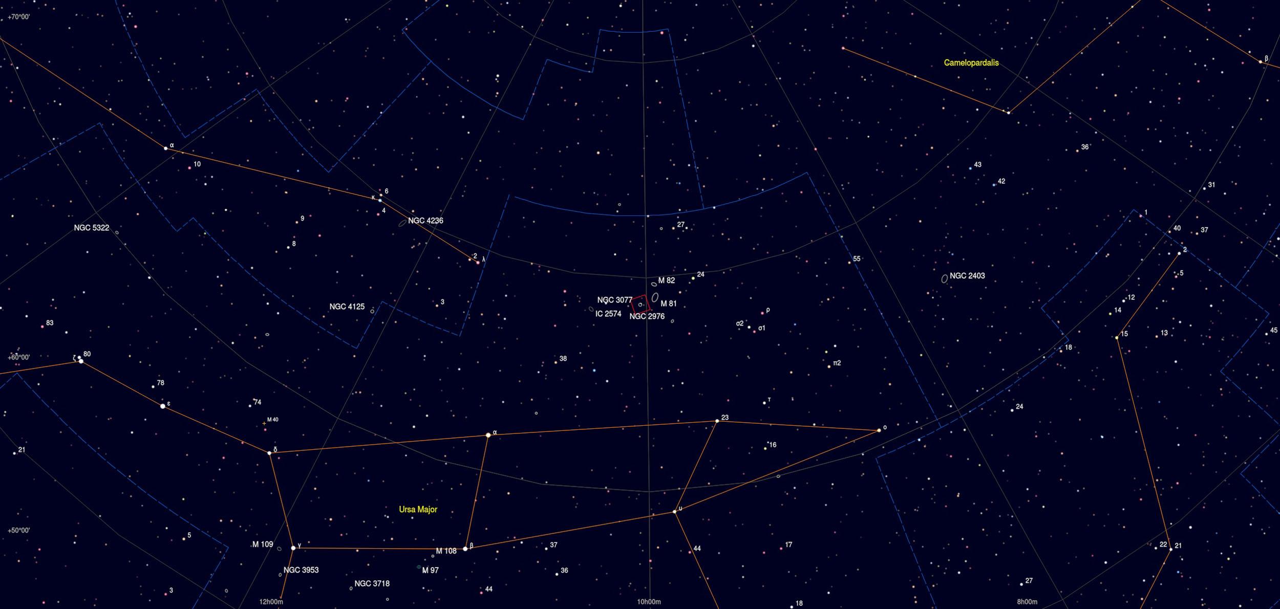 NGC 3077 Galaxy Astrophotography Martin Rusterholz Skychart