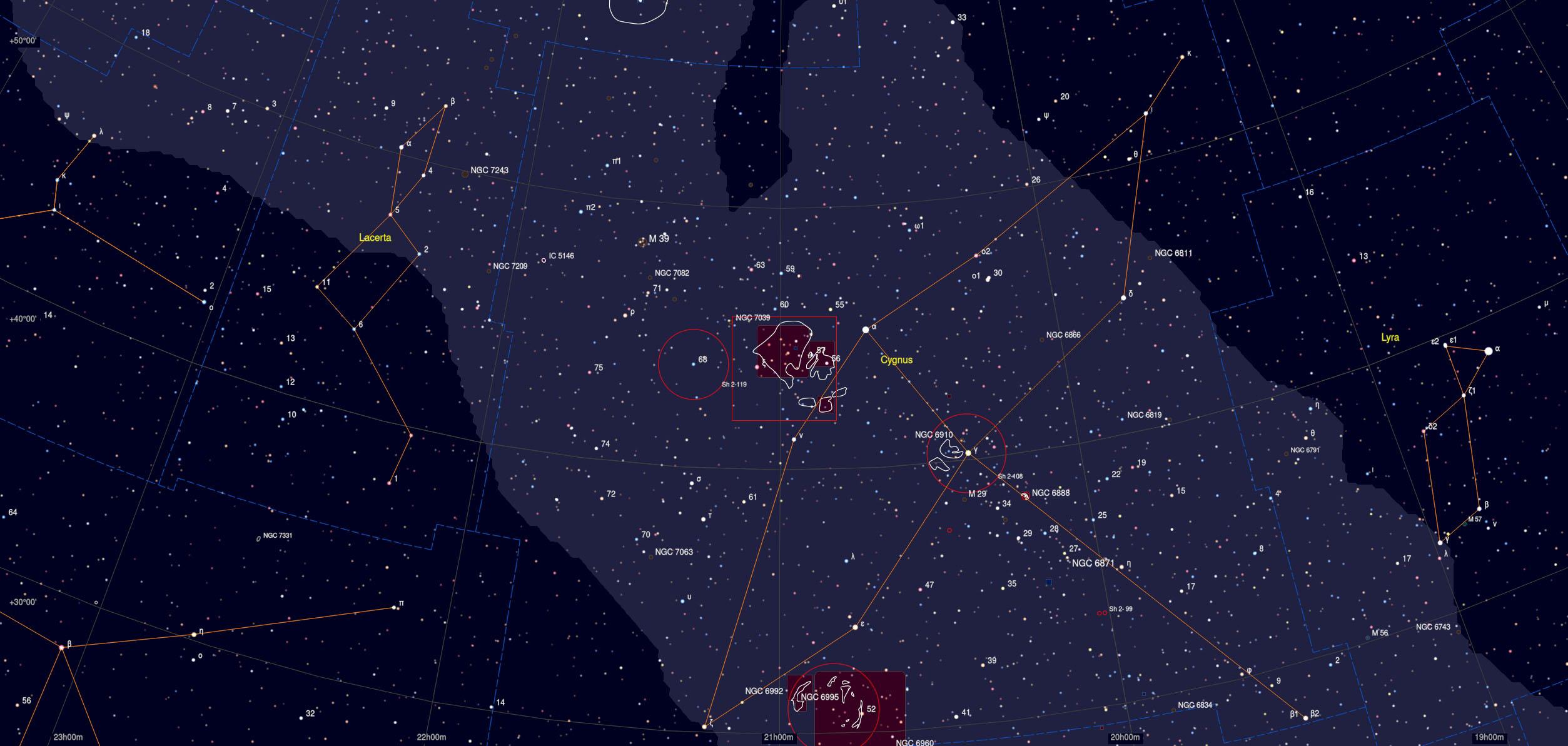 North America Nebula - Sky Chart - Astrophotography Martin Rusterholz