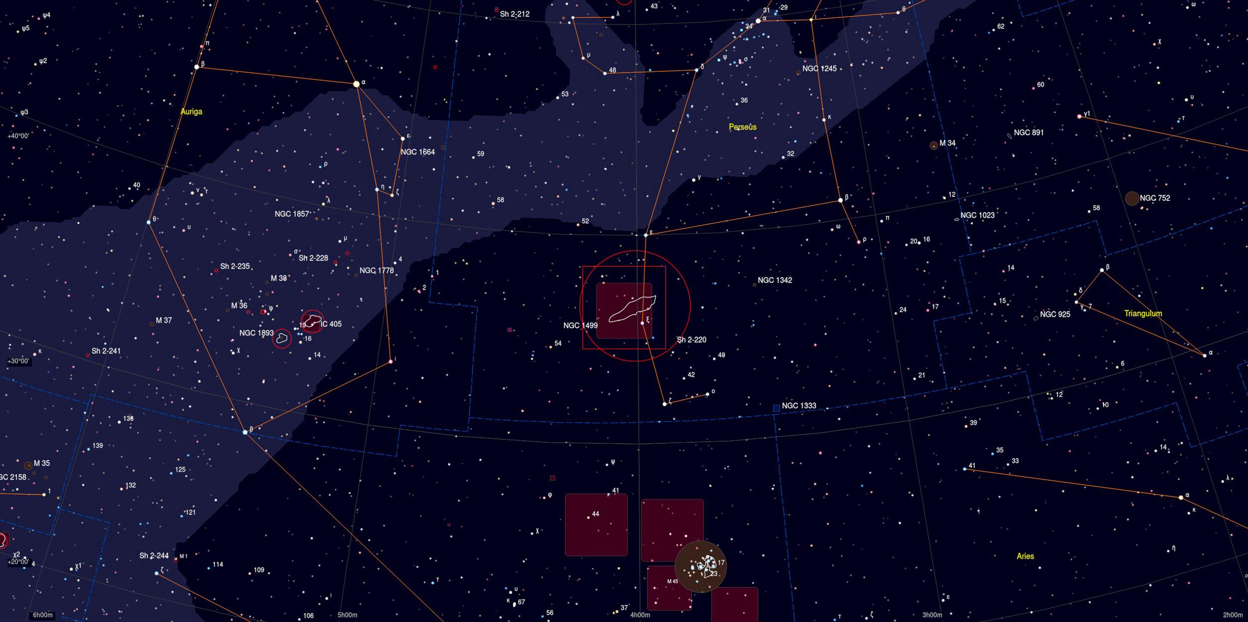 California Nebula (NGC 1499) Sky Chart - Astrophotography Martin Rusterholz