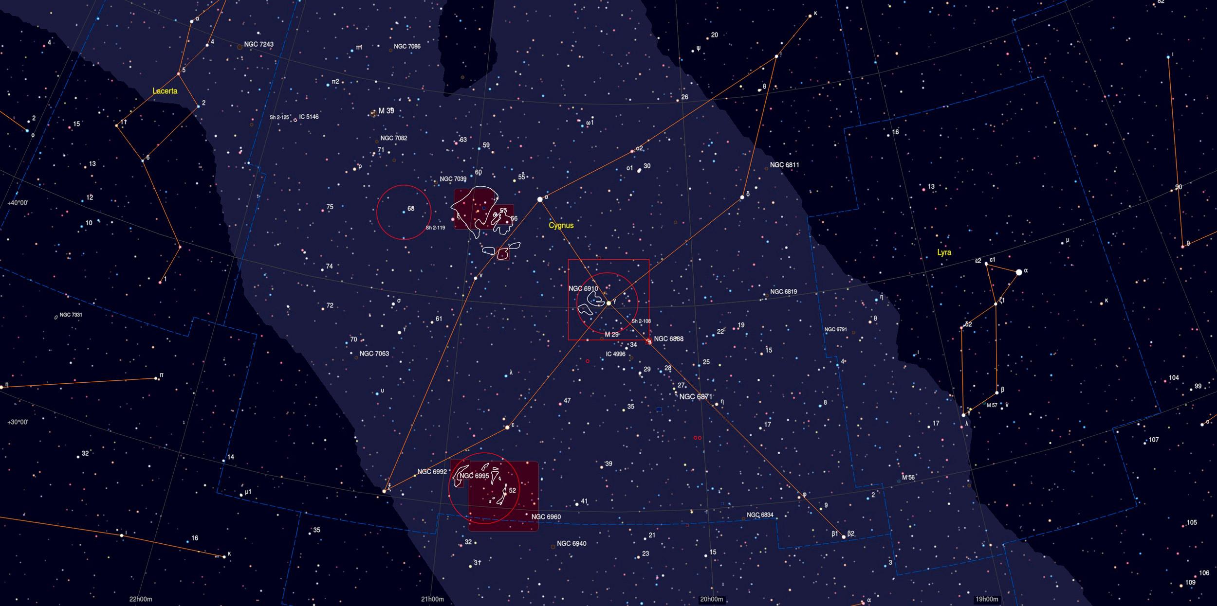 Gamma Cygni Region Sky Chart - Astrophotography Martin Rusterholz