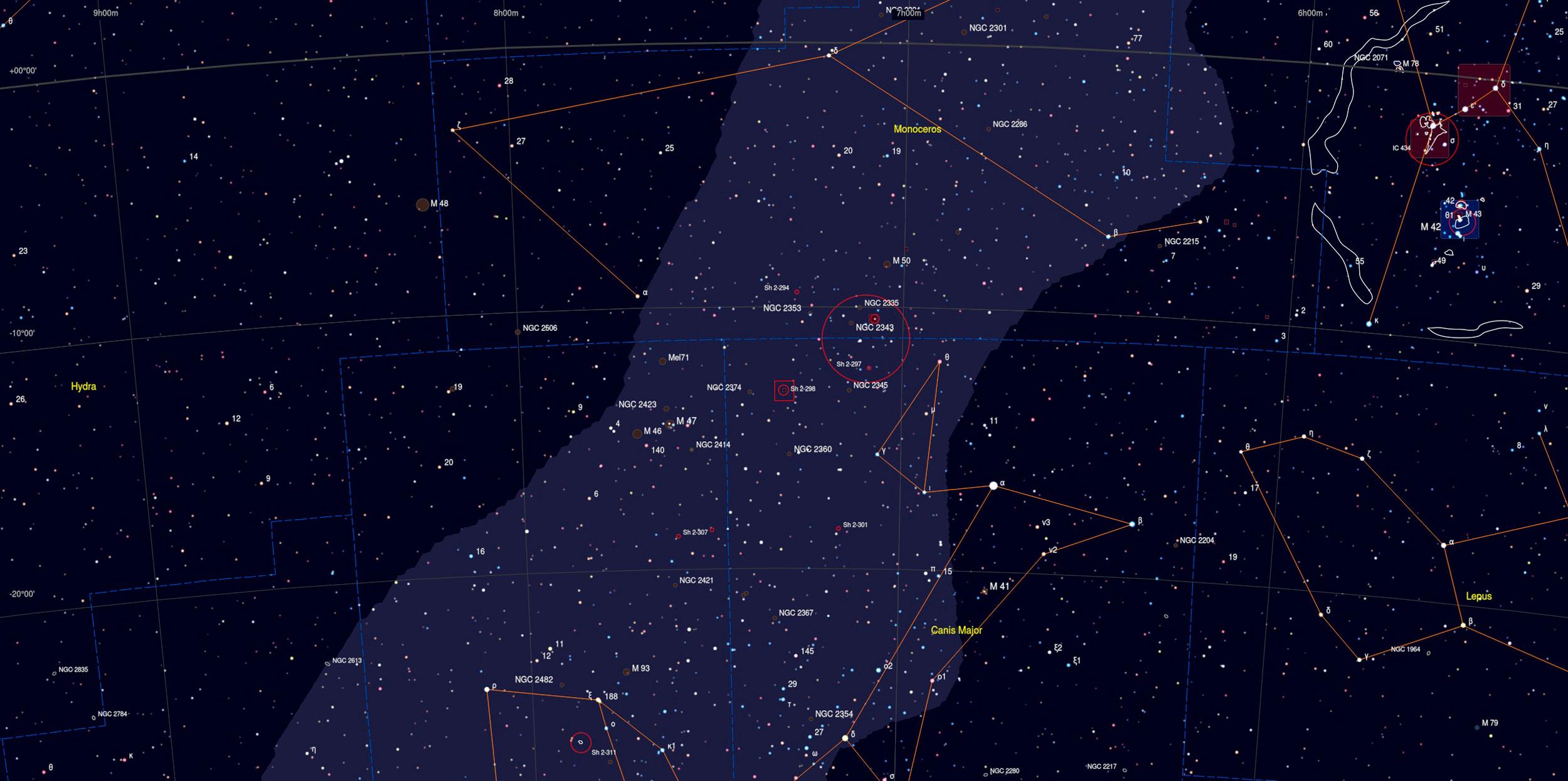 Thor's Helmet (NGC 2359) Sky Chart - Astrophotography Martin Rusterholz