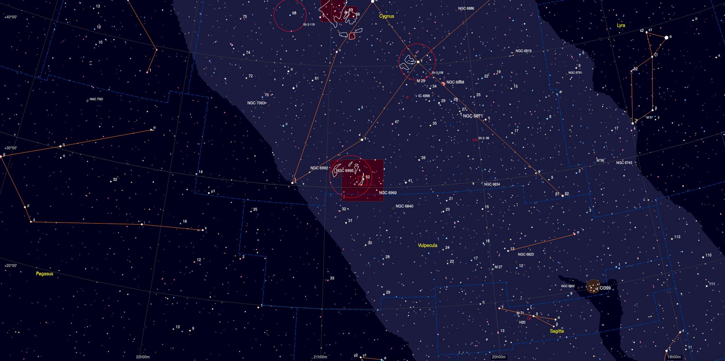 Veil Nebula (NGC 6960) Sky Chart - Astrophotography Martin Rusterholz