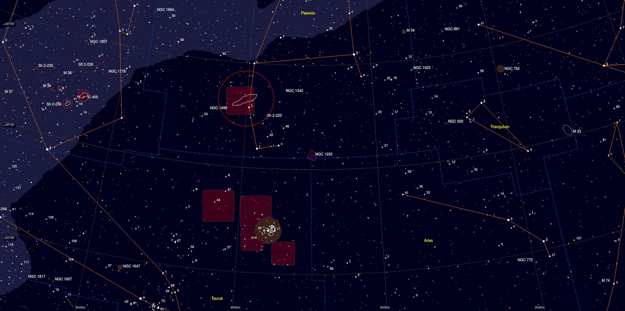 NGC 1333 Sky Chart - Astrophotography Martin Rusterholz