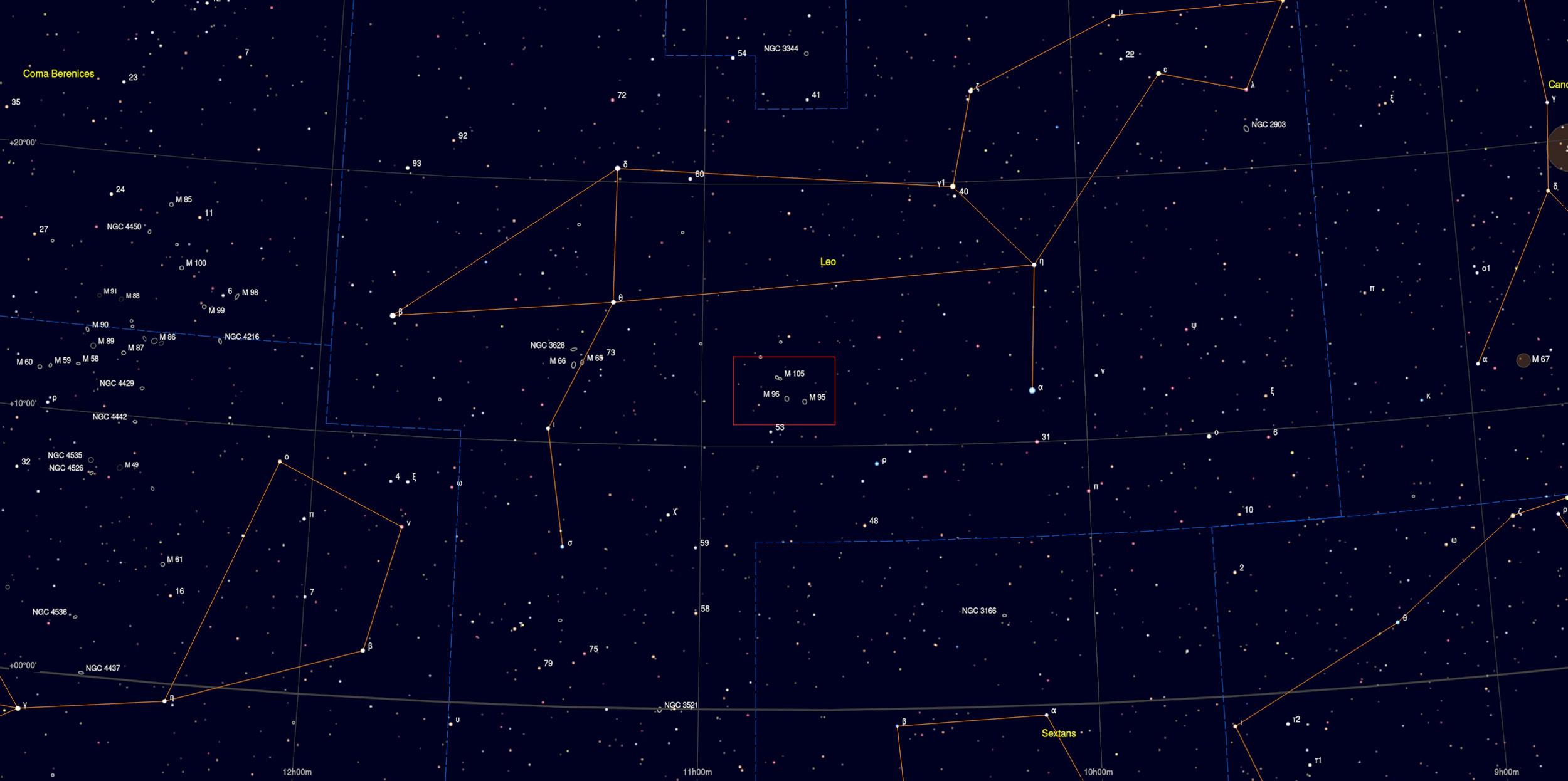 M95 M96 Galaxy in Leo Sky Chart strophotography Martin Rusterholz