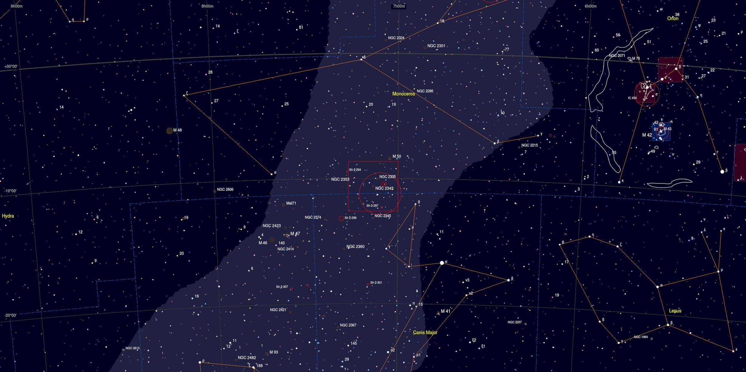 NGC 2343 Nebula Sky Chart - Astrophotography Martin Rusterholz