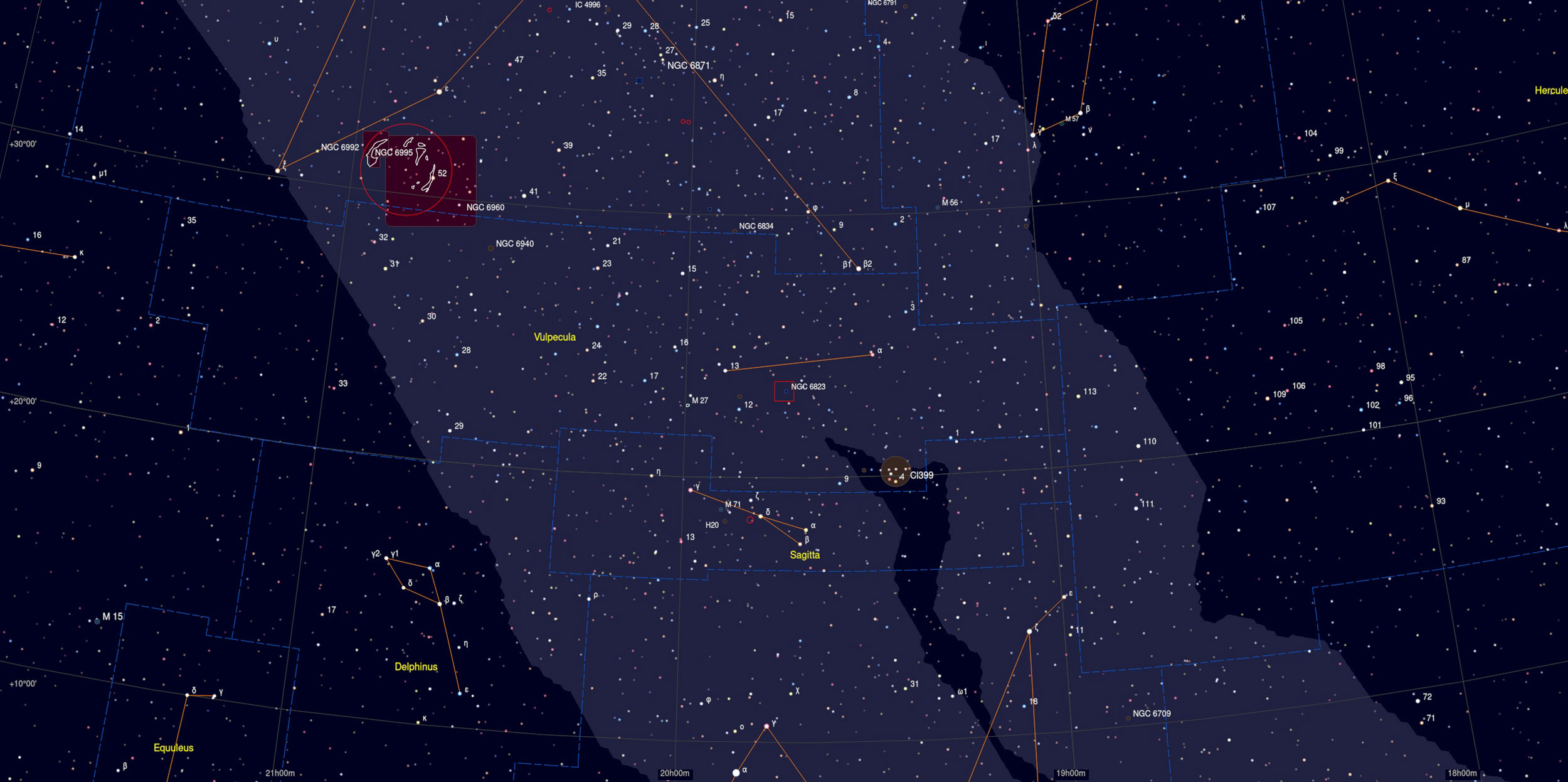 NGC 6823 Nebula Sky Chart - Astrophotography Martin Rusterholz