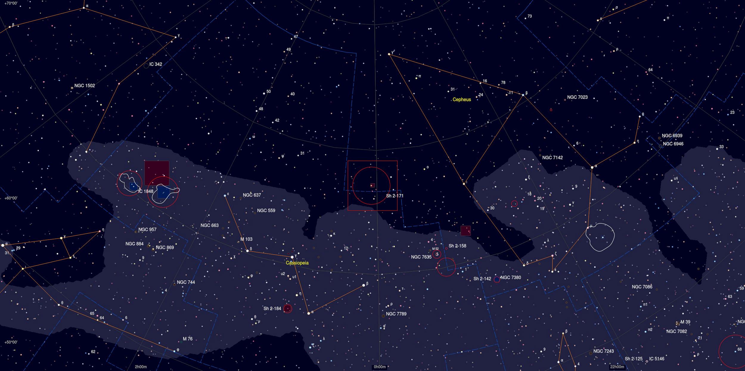 NGC 7822 Nebula Sky Chart - Astrophotography Martin Rusterholz