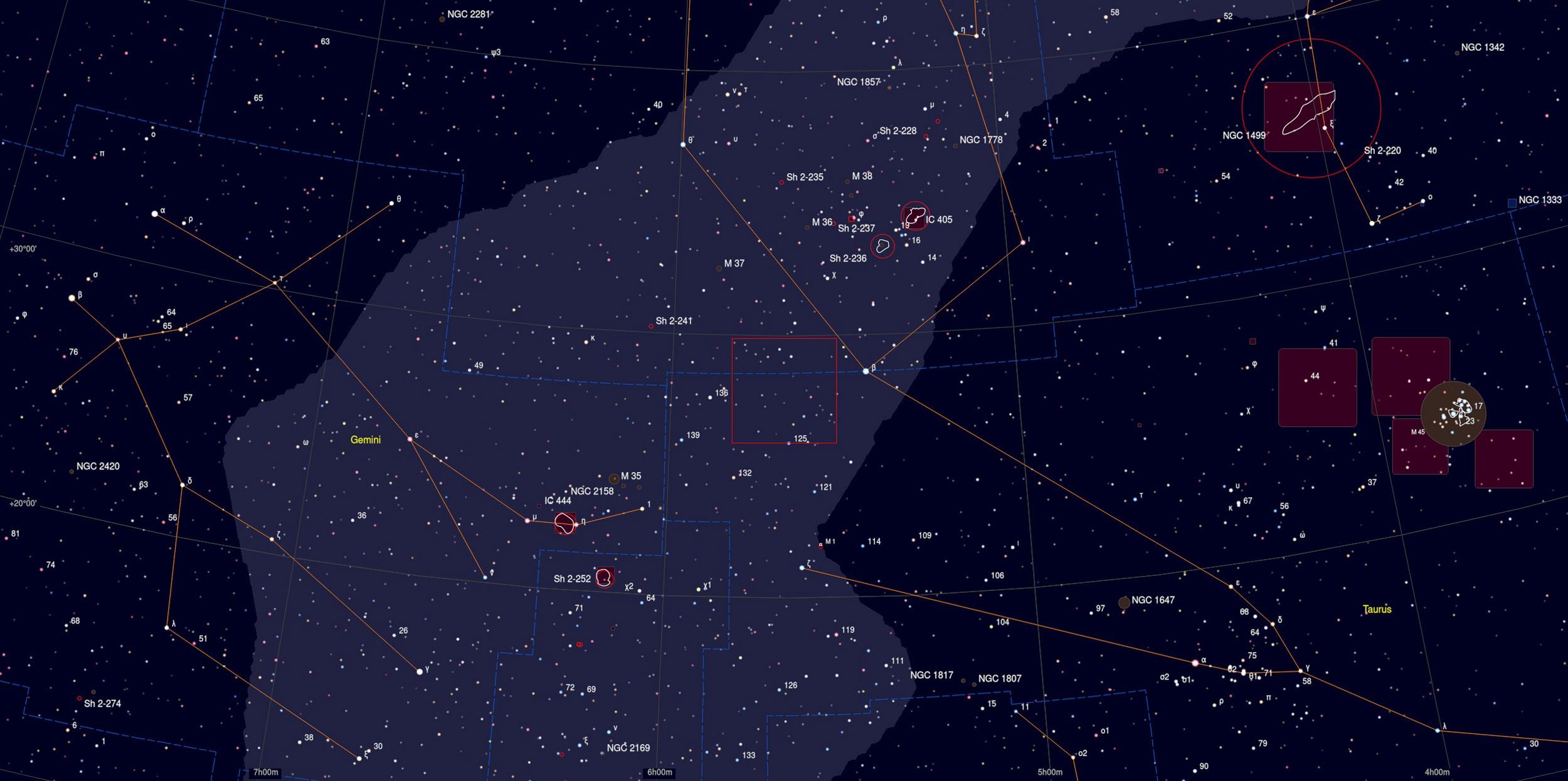 Sh2-240 Sky Chart - Astrophotography Martin Rusterholz