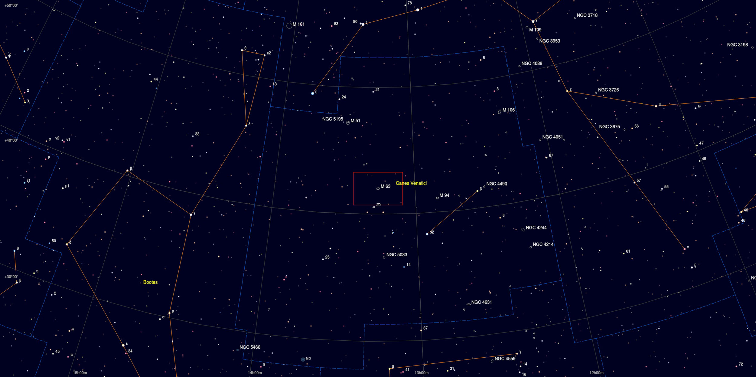 M63 Galaxy in Canes Venatici Sky Chart strophotography Martin Rusterholz