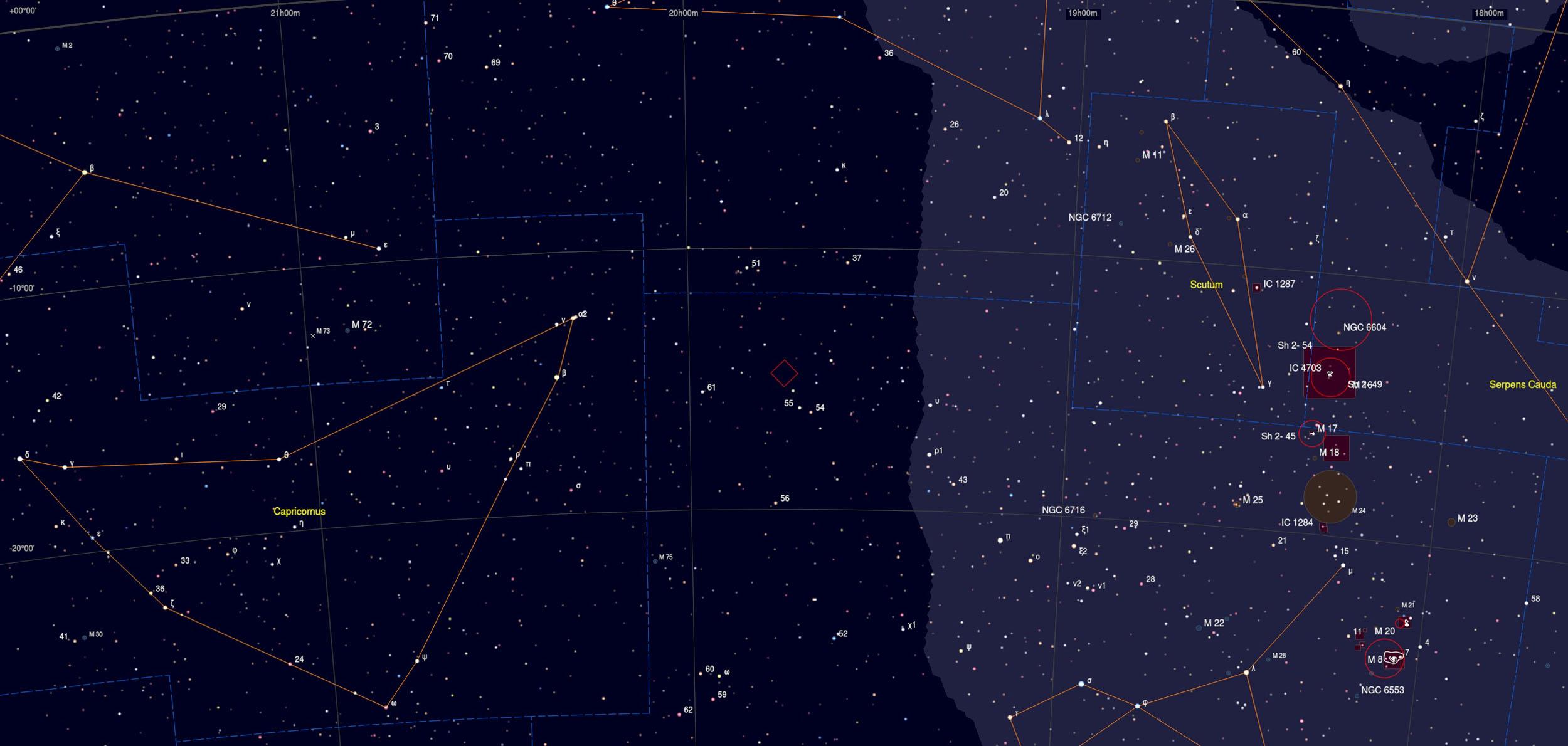 NGC 6822 Galaxy Sky Chart Astrophotography Martin Rusterholz