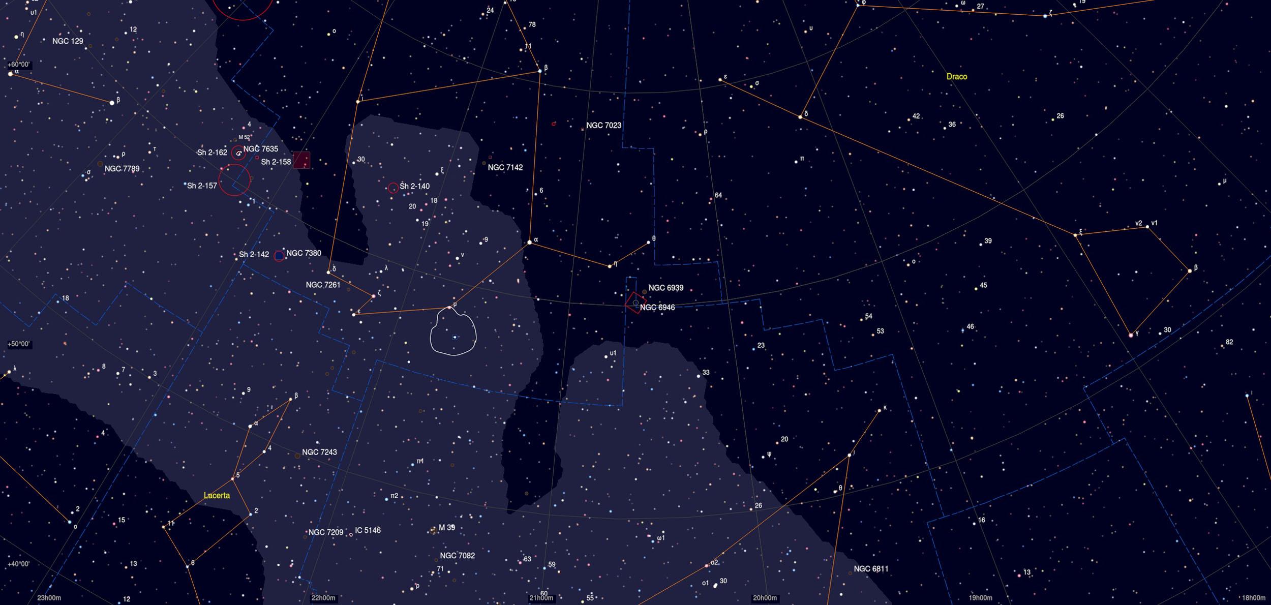 NGC 6946 Galaxy Sky Chart Astrophotography Martin Rusterholz